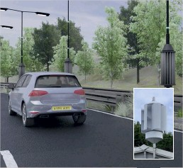 ??  ?? Cylindrical turbines on lamp posts could be powered by air pressure from passing cars. A turbine prototype generates 70kWh from a day's traffic.