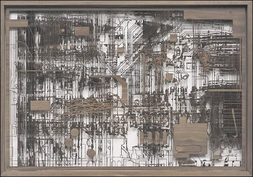 """?? Spruth Magers ?? Walnut Wood Circuit Board #1 is a featured work in the """"Focus: Analia Saban"""" exhibition at the Modern Art Museum of Fort Worth. The show runs through May 12."""