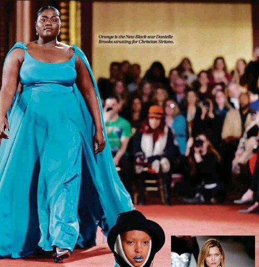 ??  ?? Orange is the New Black star Danielle Brooks strutting for Christian Siriano.