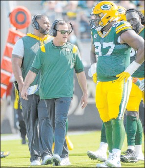 ?? Phelan M. Ebenhack The Associated Press ?? Green Bay defensive coordinator Joe Barry is feeling pressure after the Packers gave up 38 points to the New Orleans Saints in Week 1.