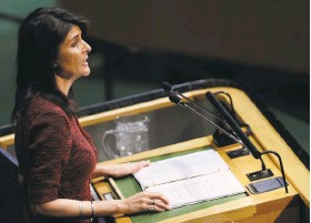 """?? Mark Lennihan / Associated Press ?? U.S. Ambassador Nikki Haley said the United States would """"remember this day"""" when it was singled out for exercising its sovereignty."""