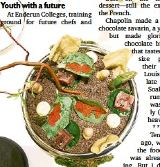 """?? MARGAUX SALCEDO ?? THE AMUSE """"bush"""" with hanging Iberico """"leaves"""" and black olive soil by Chef William Mahi of the Crown Towers Hotel at the City of Dreams."""