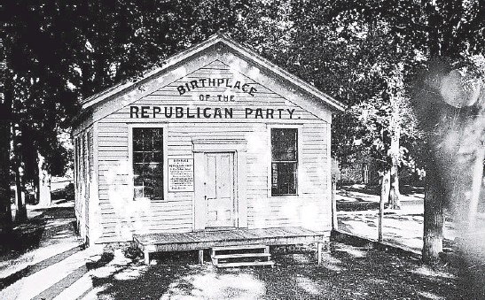 """?? LIBRARY OF CONGRESS ?? After a meeting of Whigs, Democrats and others at this Ripon, Wisconsin, school in 1854, """"We came out Republicans, and we were the first Republicans in the nation,"""" Alvan Bovay said."""