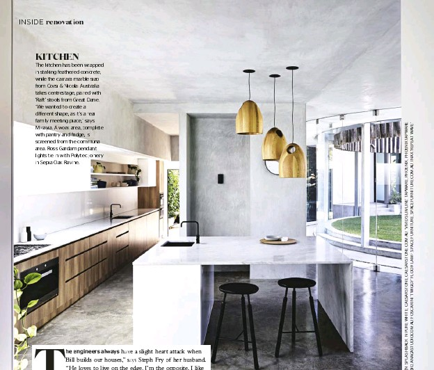 """??  ?? KITCHEN The kitchen has been wrapped in striking feathered concrete, while the carrara marble slab from Corsi & Nicolai Australia takes centrestage, paired with 'Raft' stools from Great Dane. """"We wanted to create a difffferent shape, as it's a real..."""