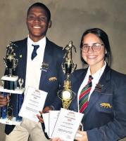 ??  ?? Senior Boys' Soccer Player of the Year Cebolenkosi Zulu and Senior Girls' Player of the Year Lucille Fernandes