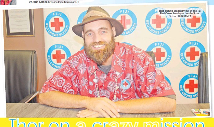 ?? Picture: JOHN KAMEA ?? Thor during an interview at the Fiji Red Cross headquarters in Suva.