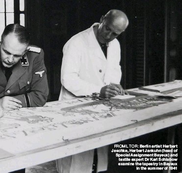 ??  ?? FROM L TO R: Berlin artist Herbert Jeschke, Herbert Jankuhn (head of Special Assignment Bayeux) and textile expert Dr Karl Schlabow examine the tapestry in Bayeux in the summer of 1941