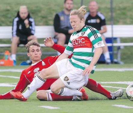 ?? CRYSTAL SCHICK/ CALGARY HERALD ?? Foothills FC's Mitchell Bauche gets tripped up by Lane United FC's Mathias Binder during Premier Development League soccer action last season. The PDL has proven to be a fertile training ground for aspiring soccer talent.