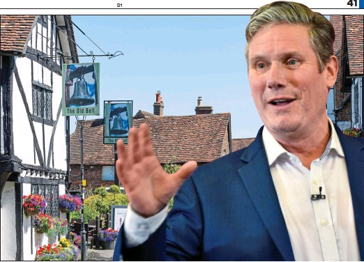 ??  ?? PROUD SOCIALIST: Sir Keir Starmer was brought up in Oxted, above, once named the 20th wealthiest town in Britain, in a house with an Aga