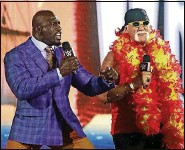 ??  ?? Hosts Titus O'Neil and Hulk Hogan, decked out for the occasion, welcome fans to WrestleMania 37.