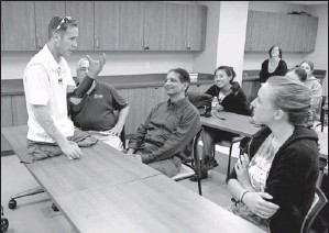 ?? Photos by Eileen Blass, USA TODAY ?? Sharing experience: Bryan Anderson speaks to a class of occupational therapy students at Misericordia University in Dallas, Pa.