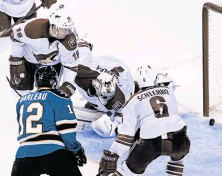 ?? Carlos Avila Gonzalez / The Chronicle ?? Patrick Marleau is the first player since the 1982-83 season to open the campaign with three consecutive multi-goal games.