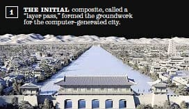 """??  ?? 1 THE INITIAL composite, called a """"layer pass,"""" formed the groundwork for the computer-generated city. Disney"""