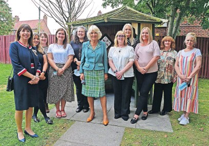 ??  ?? Royal opening Camilla, pictured with South Ayrshire Women's Aid staff, officially opens their new refuge accommodation