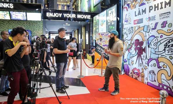 ??  ?? Ross interviewing Jordan Vogt-Roberts, director of Kong: Skull Island
