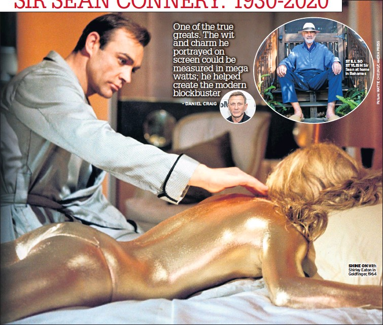 ??  ?? SHINE ON With Shirley Eaton in Goldfinger, 1964