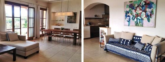 ??  ?? Sandtöne und Blauakzente kennzeichnen die Atmosphäre im Wohnbereich. Das Interieur verströmt lässiges Flair und viel Gemütlichkeit.