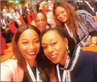 ??  ?? Front L-R: Onikepo Animashaun, Folashade Alli, Behind L-R: Onikepo Braithwaite, Editor, THISDAY Lawyer and Precilla Oditah, at the opening ceremony of the IBA Conference 2018