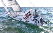 ??  ?? Paja is fitted with a folding bimini and an outboard engine, which are practical if slightly jarring with her slender aesthetic