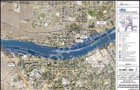 ?? IMAGES FROM GOVERNMENT OF ALBERTA ?? A look at the 1-in-100-year flood mapping for Medicine Hat's Flats (top) and downtown areas. The maps do not take into account the nearly 7 km in berms the city has had built since 2013.