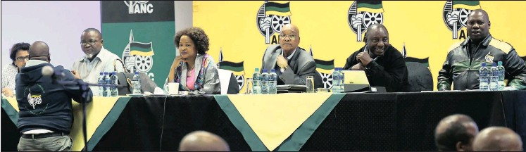 ?? Picture: MASI LOSI ?? FOCUSED: ANC NEC met at St George Hotel in Irene, Gauteng, to talk about the outcome of the 2016 municipality elections.