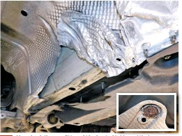 ??  ?? Also check the condition of the heat-shields and their fastenings. Should they be damaged, or missing, you risk a vehicle fire, especially on diesel models that are fitted with DPFS.