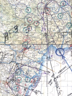 ??  ?? A typical chart carried by Vigi crew. The lines show several mission routes. The blue circle was added showing where Prendergast was shot down. (Photo courtesy of Cdr. Wattay)