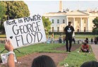 ?? CHIP SOMODEVILLA/GETTY IMAGES ?? A vigil is held near the White House on May 25, a year after George Floyd's murder.
