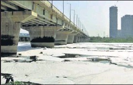 ?? ANI ?? Thick layer of toxic foam floats on the surface of the Yamuna river at Kalindi Kunj in New Delhi on Sunday.