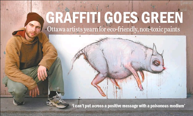 ?? CHRIS MIKULA, THE OTTAWA CITIZEN ?? Stefan Thompson is a painter/environmentalist and a former graffiti painter who now makes his own paints using vegetable pigments and linseed oil. Now he draws on scrap wood and recycled paper.