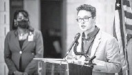 ?? JERRY JACKSON/BALTIMORE SUN ?? Christian Thomas, the student member of the Baltimore County Board of Education, speaks at a news conference on efforts to increase COVID-19 vaccination.
