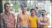 ?? KAUSHIK DUTTA/HT PHOTO ?? (From left) Rammoy, Ramsevak, Ramdhan, Ramcharan, Ramkanai — villagers with 'Ram' in their names — at Paschim Sanabadh in Bankura district of West Bengal.