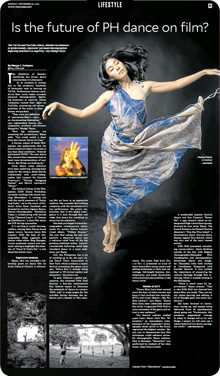 """?? — SANDRA ZOBEL ?? The TikTok and YouTube videos, whether by amateurs or professionals, represent 'personal choreographies depicting loneliness in captivity,' says Madge Reyes Nadine Lustre in """"Wildest Dreams"""" Scenes from """"Elementos"""" Madge Reyes in motion —JANMAYO"""