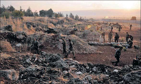 ?? SANA/ AFP ?? Posición avanzada del ejército sirio en el nuevo frente abierto en el oeste del país gracias a la ayuda de la aviación rusa