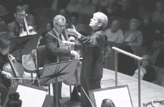 ?? MARGOT SCHULMAN ?? Marin Alsop brought Mahler's Ninth Symphony to the Music Center at Strathmore on Saturday night.