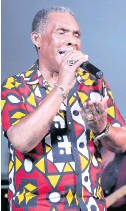 ??  ?? Veteran vocalist Ken Boothe holds a note during his performance at Jamaica Live.