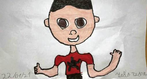 ?? Arquivo pessoal ?? João Pedro de Almeida Garcia Santos, 9 anos, fez um autorretrato nas férias; ele adora desenhar