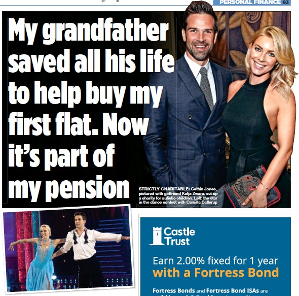 ??  ?? STRICTLY CHARITABLE: Gethin Jones, pictured with girlfriend Katja Zwara, set up a charity for autistic children. Left: the star in the dance contest with Camilla Dallerup