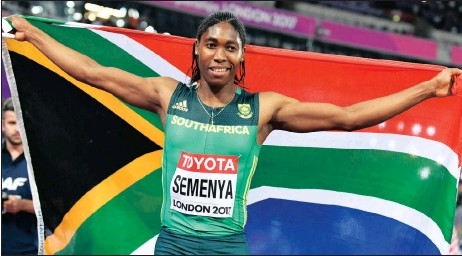 ??  ?? CASTER, OUR WORLD CHAMPION: 800m champion Caster Semenya takes in the moment after claiming gold in the IAAF World Championships in London last night. Semenya set a new personal best and world leading time of 1:55.16 in the two-lap race. Picture: EPA
