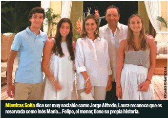 ??  ?? Mientras Sofía dice ser muy sociable como Jorge Alfredo; Laura reconoce que es reservada como Inés María... Felipe, el menor, tiene su propia historia.