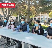 ?? BELEM HERNÁNDEZ /EL SOL DE DURANGO ?? Estudiantes duranguenses exigen vacuna anticovid y anuncian que harán una cadena humana