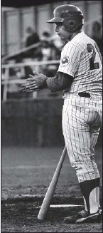 ??  ?? New West's Tim Hughes (above) up to bat and pitcher Ed Joyce (right) against the Seattle Rainiers in 1974.