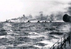 ??  ?? Dreadnought battleships of the Royal Navy's Grand Fleet patrol the North Sea in 1916