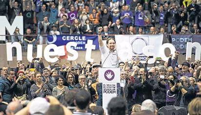 ?? ROSER VILALLONGA ?? Pablo Iglesias durante su mitin del pasado domingo en Barcelona