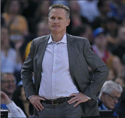 """?? JOSE CARLOS FAJARDO — STAFF PHOTOGRAPHER ?? Warriors coach Steve Kerr enjoyed reading """"Moneyball"""" by Michael Lewis and is unafraid to take a stand on political and social issues."""