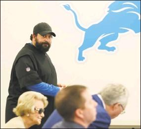 ?? Carlos Osorio / Associated Press ?? Detroit Lions head coach Matt Patricia looks toward team owner Martha Firestone Ford, left, general manager Bob Quinn, center, and president Rod Wood as he prepares to meet the media on Thursday.