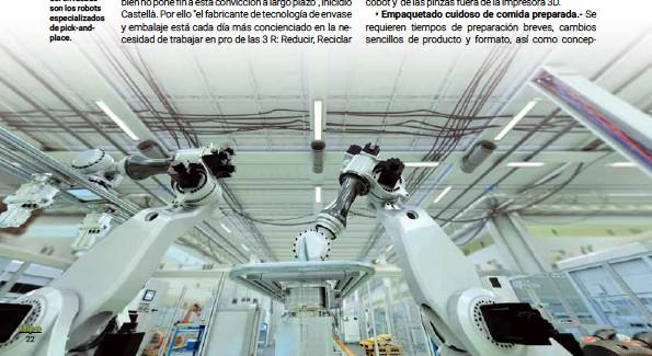 ??  ?? Una de las tendencias en el sector del envasado son los robots especializados de pick-andplace.