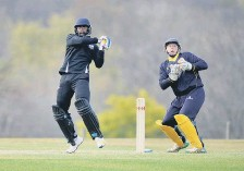 ??  ?? Roffey CC's Rohit Jagota goes on the attack at Cuckfield CC