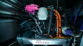 ??  ?? Developed in partnership with Toyota, the two hydrogen fuel cells are capable of producing 10 times more energy than batteries on board for the same weight, and almost indefinitely.