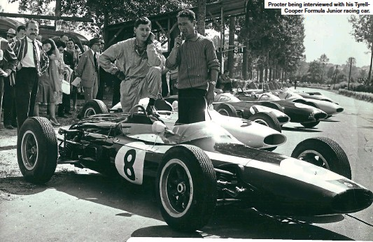 ??  ?? Procter being interviewed with his TyrellCooper Formula Junior racing car.
